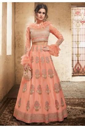 Online Party wear Lehenga choli in peach colour
