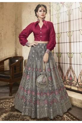 Designer Grey colour Indian lehenga choli online
