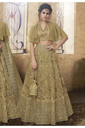 Buy Engagement Indian lehenga in green colour