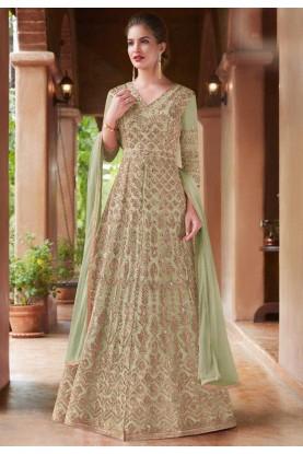Buy Anarkali Salwar Suit Online with Green Colour