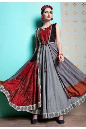 Grey,Red Colour Anarkali Designer kurtis online