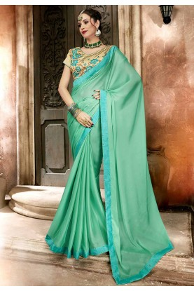 Green Colour Georgette Saree.