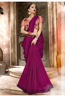 Purple Colour Party Wear Saree.
