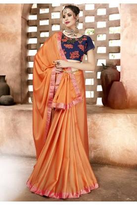 Orange Colour Chiffon Saree.