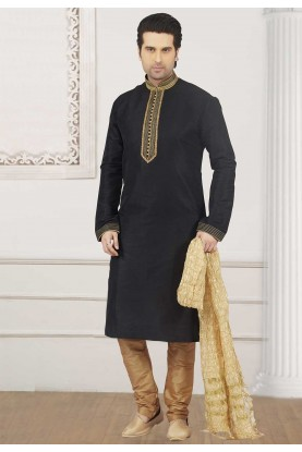 Black Colour Party Wear Kurta Pajama.