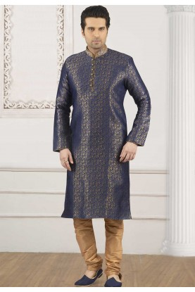 Golden,Blue Colour Printed Kurta Pajama.