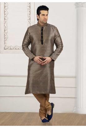 Golden,Blue Colour Readymade Kurta Pyjama.