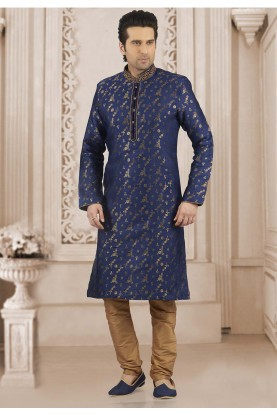 Blue Colour Designer Kurta Pajama.