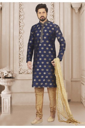 Blue Colour Printed Kurta Pajama.