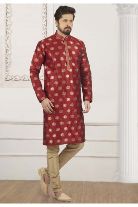 Maroon Colour Party Wear Kurta.