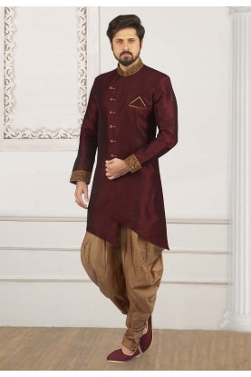 Wine Colour Banarasi Silk Kurta Pajama.