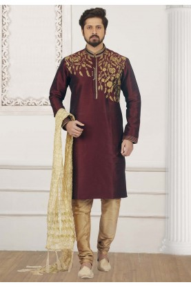 Wine Colour Designer Kurta Pajama.