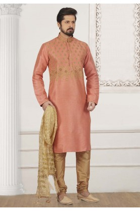 Peach Colour Banarasi Silk Kurta Pajama.