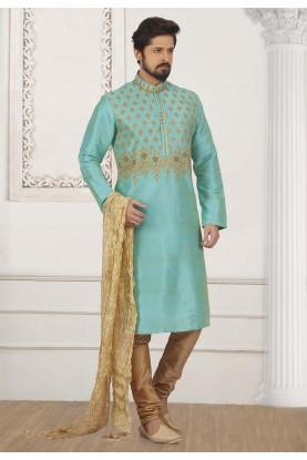 Turquoise Colour Readymade Kurta Pajama.