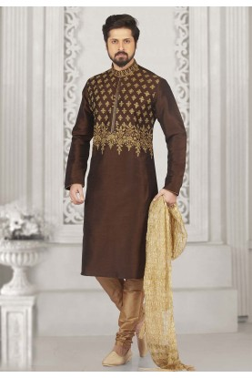 Brown Colour Party Wear Kurta Pyjama.