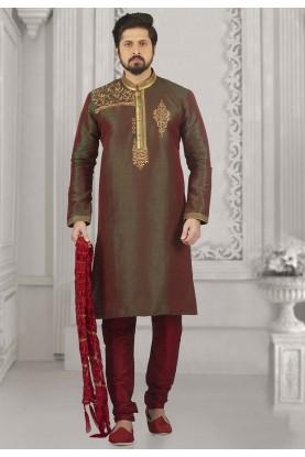 Green,Red Colour Banarasi Silk Kurta Pajama.