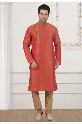 Orange Colour Banarasi Silk Kurta Pajama.