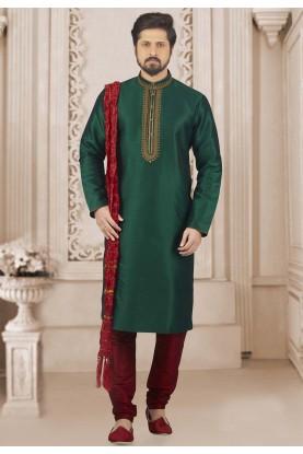Green Colour Indian Kurta Pajama.