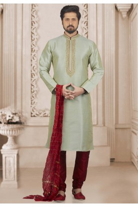 Green Colour Banarasi Silk Kurta Pajama.