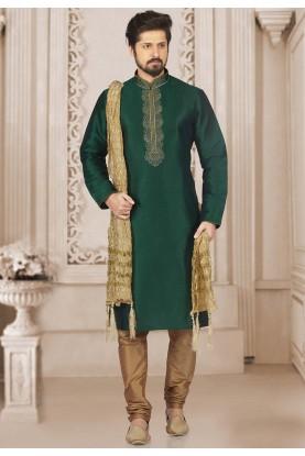 Green Colour Readymade Kurta Pyjama.
