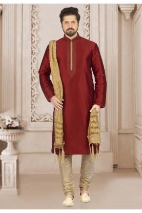 Maroon Colour Banarasi Silk Kurta Pajama.