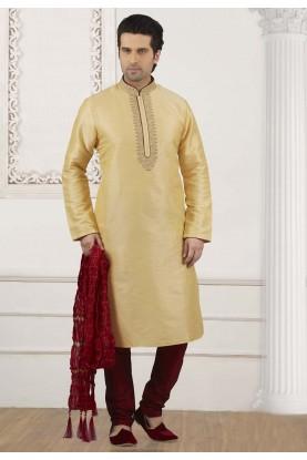 Golden Colour Indian Designer Kurta Pajama.