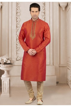 Orange Colour Indian Kurta Pajama.