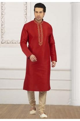Red Colour Readymade Kurta Pyjama.