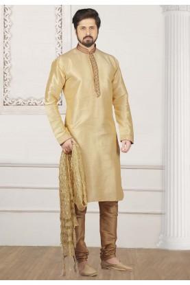 Golden Colour Indian Wedding Kurta Pajama.