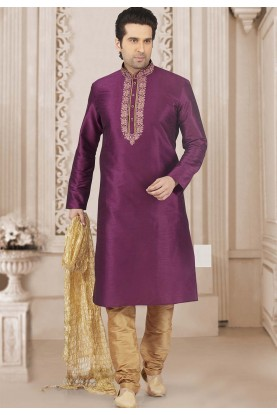 Magenta Colour Readymade Kurta Pajama.