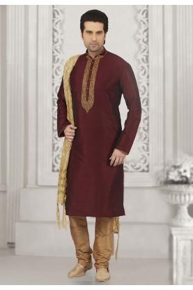 Wine Colour Indian Kurta Pajama.