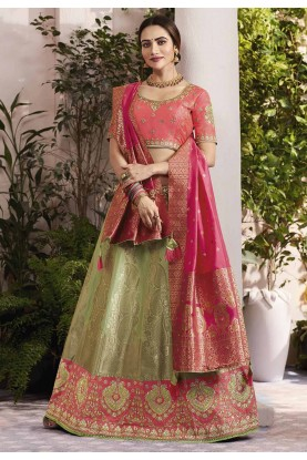 Green,Peach Colour Traditional Lehenga Choli.