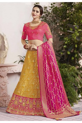 Yellow,Pink Colour Designer Lehenga.