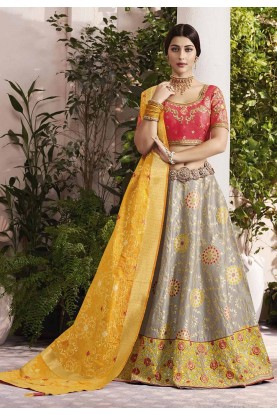 Grey,Yellow Colour Indian Designer Lehenga.