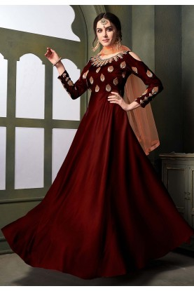 Maroon Colour Designer Gown.