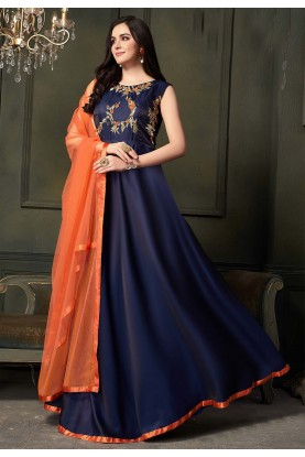 Blue Colour Readymade Gown.