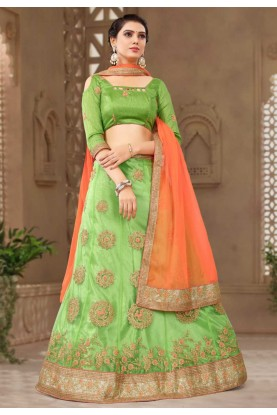 Green Colour Traditional Lehenga choli for bridesmaid
