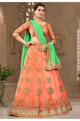 Orange Colour Net Lehenga.