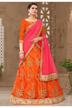 Buy Orange Colour Lehenga choli for bridesmaid
