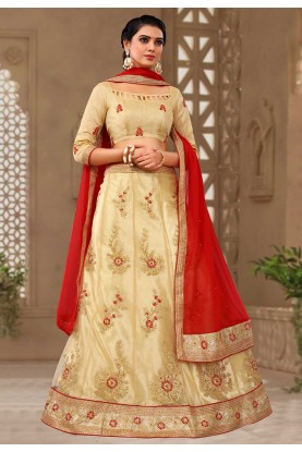 Buy Beige Colour Lehenga choli for bridesmaid
