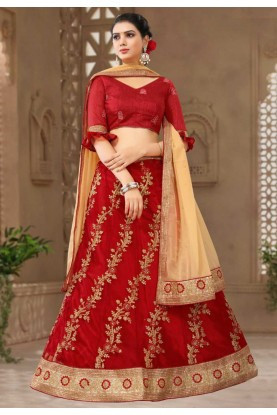 Buy Red Colour Bridesmaid lehenga online