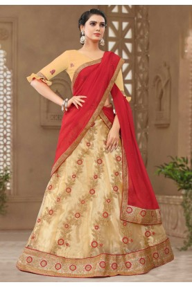 Cream Colour Wedding Lehenga.