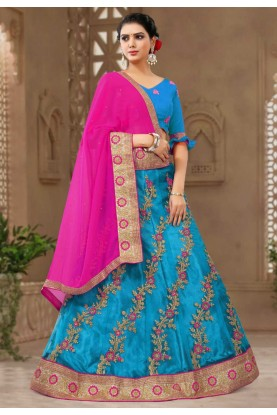 Blue Colour Lehenga Choli.