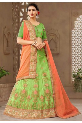 Green Colour Silk Lehenga.