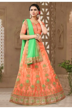 Peach Colour Designer Lehenga.