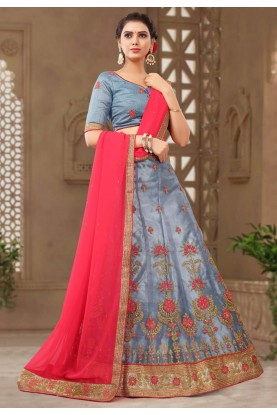 Grey Colour Net Lehenga.