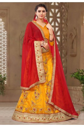 Yellow Colour Indian Designer Lehenga.