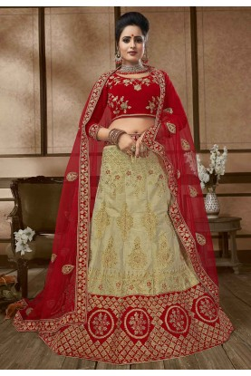 Beige,Red Colour Designer Lehenga.