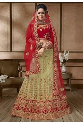 Beige,Red Colour Wedding Lehenga Choli.