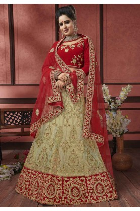 Beige,Red Colour Indian Designer Lehenga.